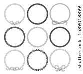 set of round rope frame. marine ... | Shutterstock .eps vector #1589018899