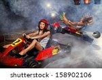 girl is driving go kart with... | Shutterstock . vector #158902106