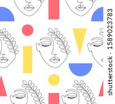seamless pattern with woman... | Shutterstock .eps vector #1589023783