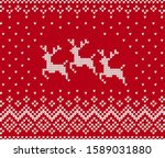 knit pattern with reindeer.... | Shutterstock .eps vector #1589031880