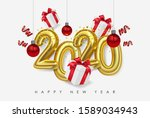vector happy new 2020 year.... | Shutterstock .eps vector #1589034943