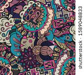 tracery seamless pattern.... | Shutterstock .eps vector #1589048833
