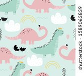 seamless pattern with dinosaurs ... | Shutterstock .eps vector #1589063839