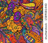 tracery seamless pattern.... | Shutterstock .eps vector #1589081440