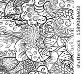 tracery seamless pattern.... | Shutterstock .eps vector #1589086603
