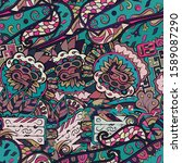 tracery seamless pattern.... | Shutterstock .eps vector #1589087290