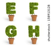 3d Font Made Out Of Pot Plants