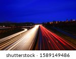 Lightpainting Of A Highway At...