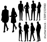 vector silhouettes of  men and... | Shutterstock .eps vector #1589153980