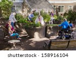 residents of an assisted living ... | Shutterstock . vector #158916104