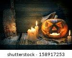 scarved jack o lantern on a... | Shutterstock . vector #158917253