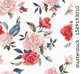 Colorful Vintage Roses Seamless ...