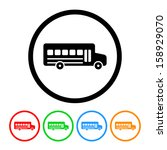 school bus icon with color... | Shutterstock .eps vector #158929070