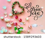 pink white roses bouquet  on ... | Shutterstock . vector #1589293603