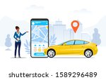 ride hailing app on a mobile... | Shutterstock .eps vector #1589296489