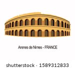 Ancient roman amphitheater (Arènes de Nimes) of Nimes. Nimes Arena exterior view. Nimes is a city in the Occitanie region of southern France