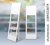 mockup floor display rack for... | Shutterstock .eps vector #1589323879