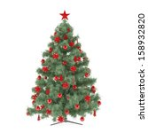 christmas tree with red stars...   Shutterstock . vector #158932820