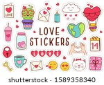 set of isolated love stickers... | Shutterstock .eps vector #1589358340