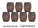 brown oak barrel in two rows... | Shutterstock . vector #1589358493