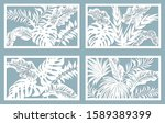 set template for cutting. palm... | Shutterstock .eps vector #1589389399