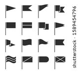 flag icons. waving pennant ... | Shutterstock .eps vector #1589454796