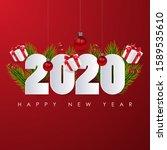 happy new 2020 year. festive... | Shutterstock .eps vector #1589535610