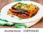 Stock photo piece of vegetable lasagna 158954630