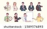 set of various gestures of... | Shutterstock .eps vector #1589576893