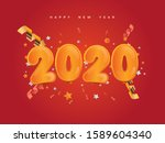 new year 2020 with golden... | Shutterstock .eps vector #1589604340