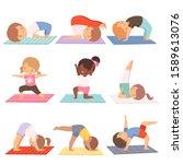 cute kids practicing yoga... | Shutterstock .eps vector #1589613076