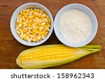 corn and starch on wood table | Shutterstock . vector #158962343