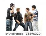 team of young trendy teenagers... | Shutterstock . vector #15896320