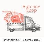 butcher shop delivery logo... | Shutterstock .eps vector #1589671063