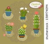 cactus vector set | Shutterstock .eps vector #158974094
