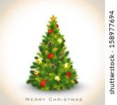 beautiful decorated xmas tree... | Shutterstock .eps vector #158977694