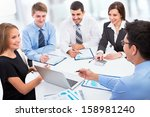 business people working with... | Shutterstock . vector #158981240