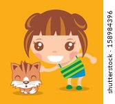 cute girl with kitten vector... | Shutterstock .eps vector #158984396
