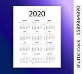 calendar layout 2020 year. week ... | Shutterstock .eps vector #1589864890