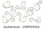 Set Of Hand Drawn Rats  Mouse...