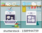 dirty and clean dishes flat... | Shutterstock .eps vector #1589944759