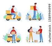 delivery service male courier... | Shutterstock .eps vector #1589944999