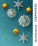 winter and holidays design with ... | Shutterstock .eps vector #1589993950