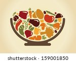 bowl with vegetables | Shutterstock .eps vector #159001850