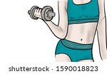 a woman carrying a dumbbell to... | Shutterstock . vector #1590018823