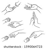 set of human hand and cat paw....   Shutterstock .eps vector #1590064723