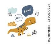 hand drawn dinosaur... | Shutterstock .eps vector #1590077329