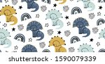 cute dinosaurs in hand drawn... | Shutterstock .eps vector #1590079339