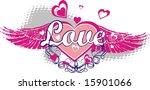 fly heart   Shutterstock .eps vector #15901066