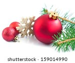 christmas baubles with  tree... | Shutterstock . vector #159014990